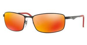 Ray-Ban RB3498 006/6S DARK BROWN MIRROR ORANGE POLARMATTE BLACK