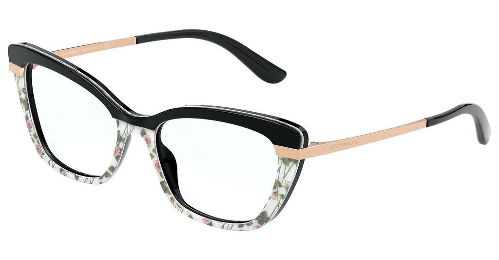 Dolce & Gabbana   DG3325 3250 BLACK ON ROSE PRINT/BLACK