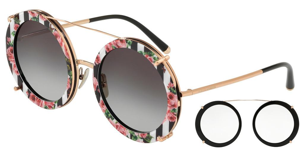 Dolce & Gabbana   DG2198 12988G GREY GRADIENTPINK GOLD/BLACK PRINT ROSE