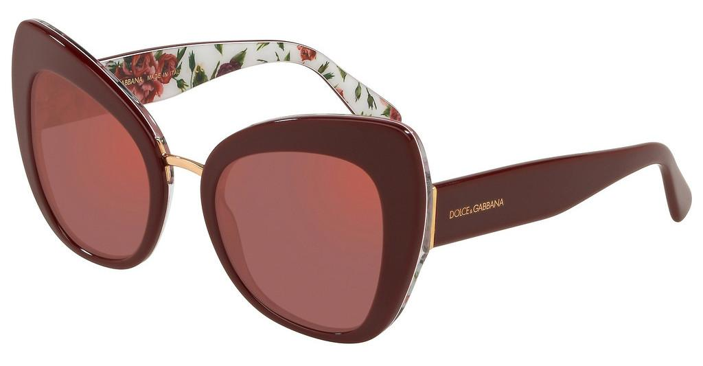 Dolce & Gabbana   DG4319 3202D0 DARK VIOLET MIRROR REDBORDEAUX ON ROSE AND PEONY