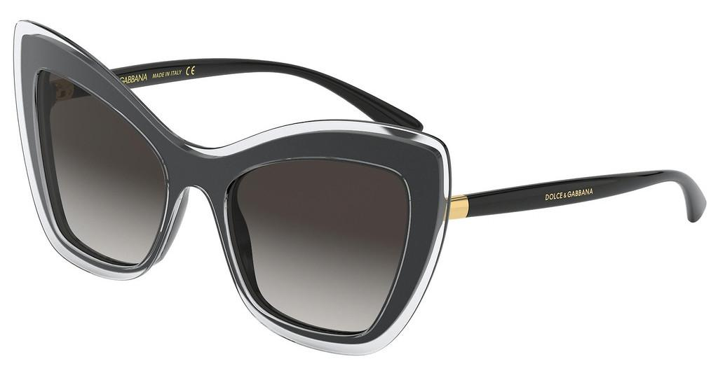 Dolce & Gabbana   DG4364 53838G LIGHT GREY GRADIENT BLACKTOP CRYSTAL ON BLACK