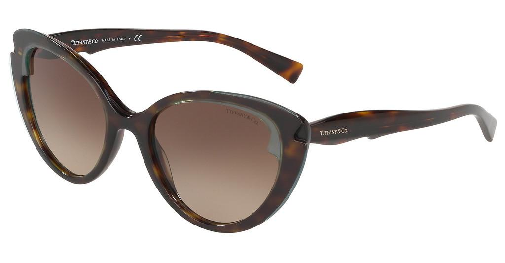 Tiffany   TF4163 82803B BROWN GRADIENTCRYSTAL TIFFANY BLUE ON HAVANA