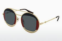Gucci Damen Sonnenbrille GG0106S 005, Gold (Gold/Brown), 56