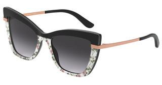 Dolce & Gabbana DG4374 32508G LIGHT GREY GRADIENT BLACKTOP BLACK ON PRINT PINK ROSE