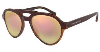 Emporio Armani EA4128 57494Z GREY MIRROR ROSE GOLDBORDEAUX ON HONEY HAVANA