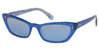 Miu Miu MU 10US 1452B2 LIGHT BLUE MIRROR SILVER GRADGLITTER BLUE