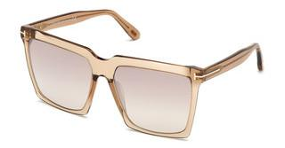 Tom Ford FT0764 57G braun verspiegeltbeige glanz
