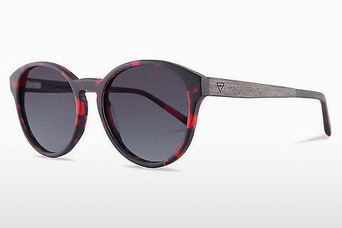 Sonnenbrille Kerbholz Leopold Funky Red