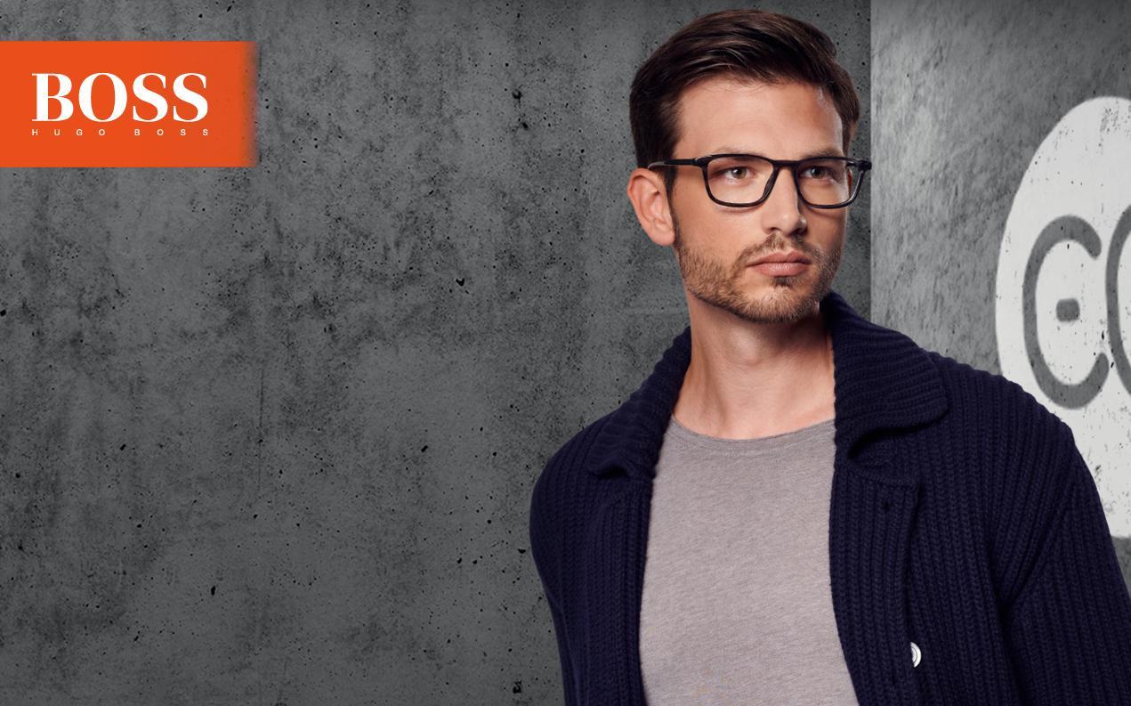 male model wearing mens Boss glasses