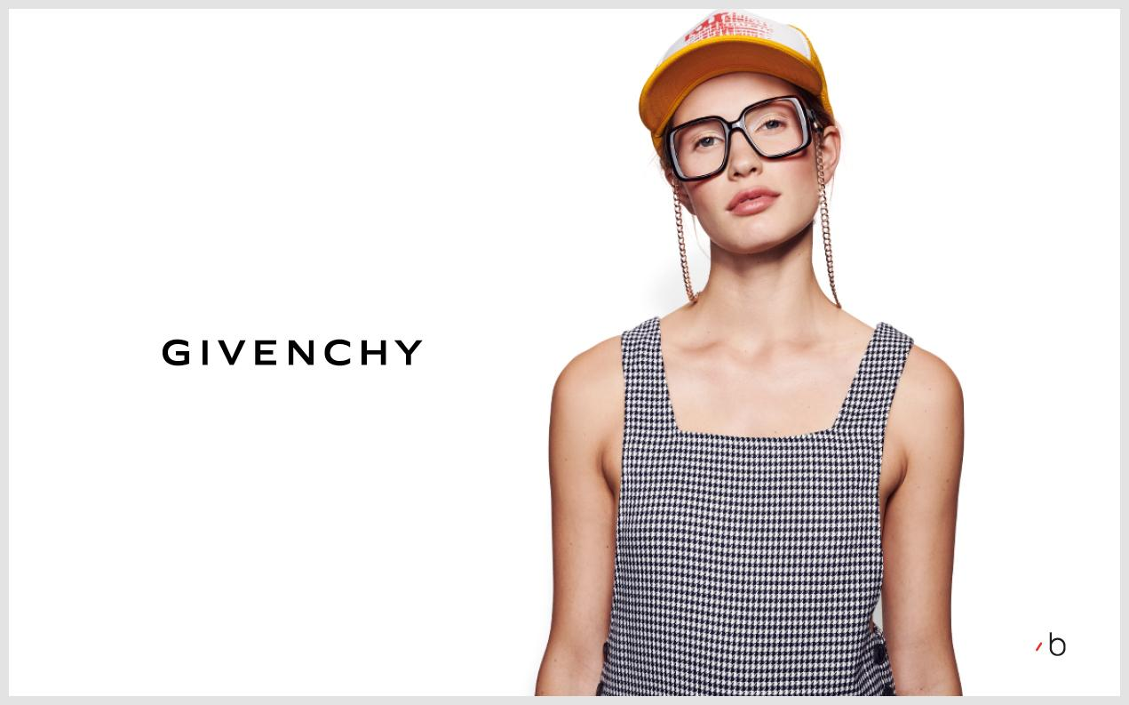 Female model wearing womens Givenchy glasses