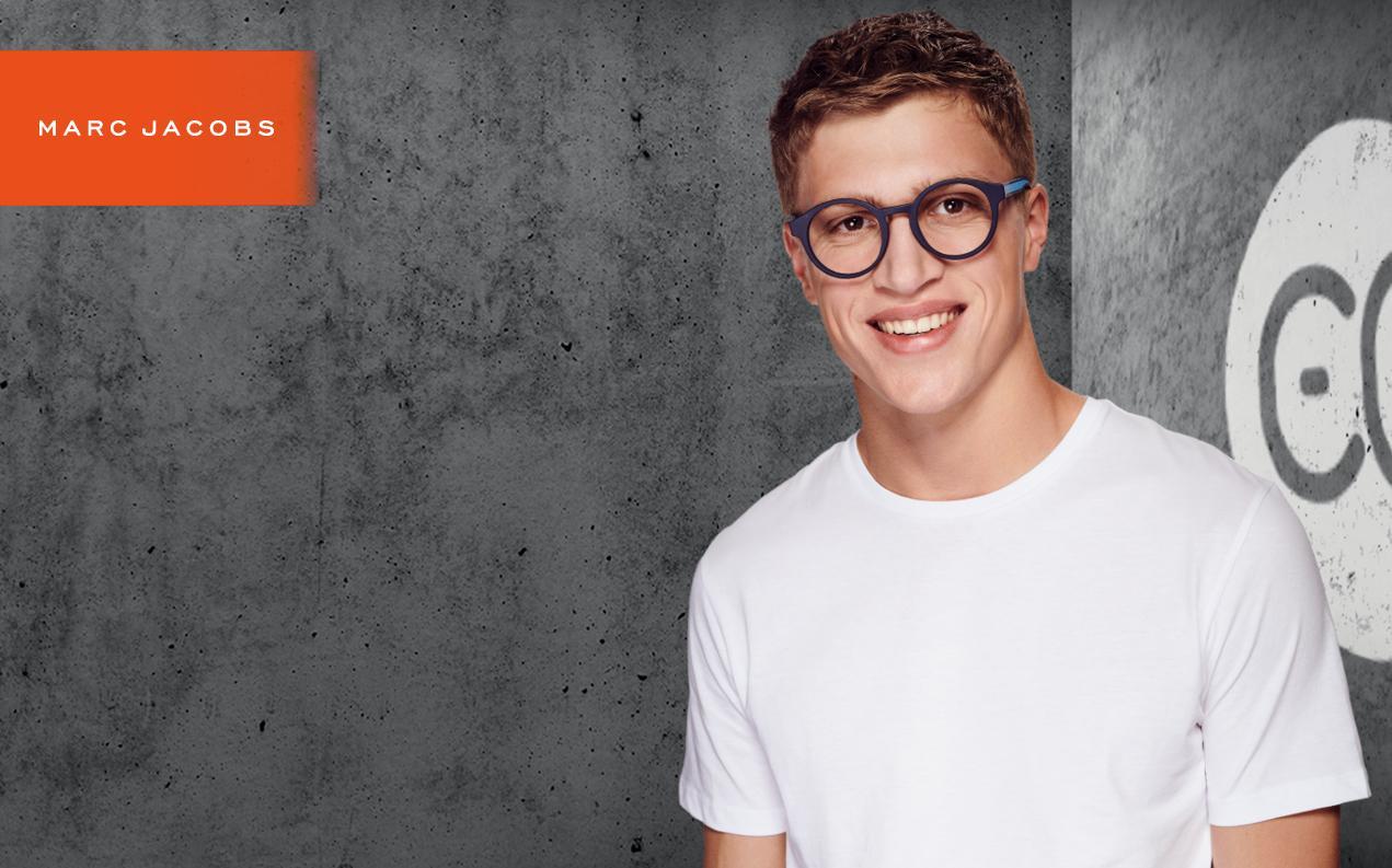 Male model wearing Marc Jacobs men's orescription glasses