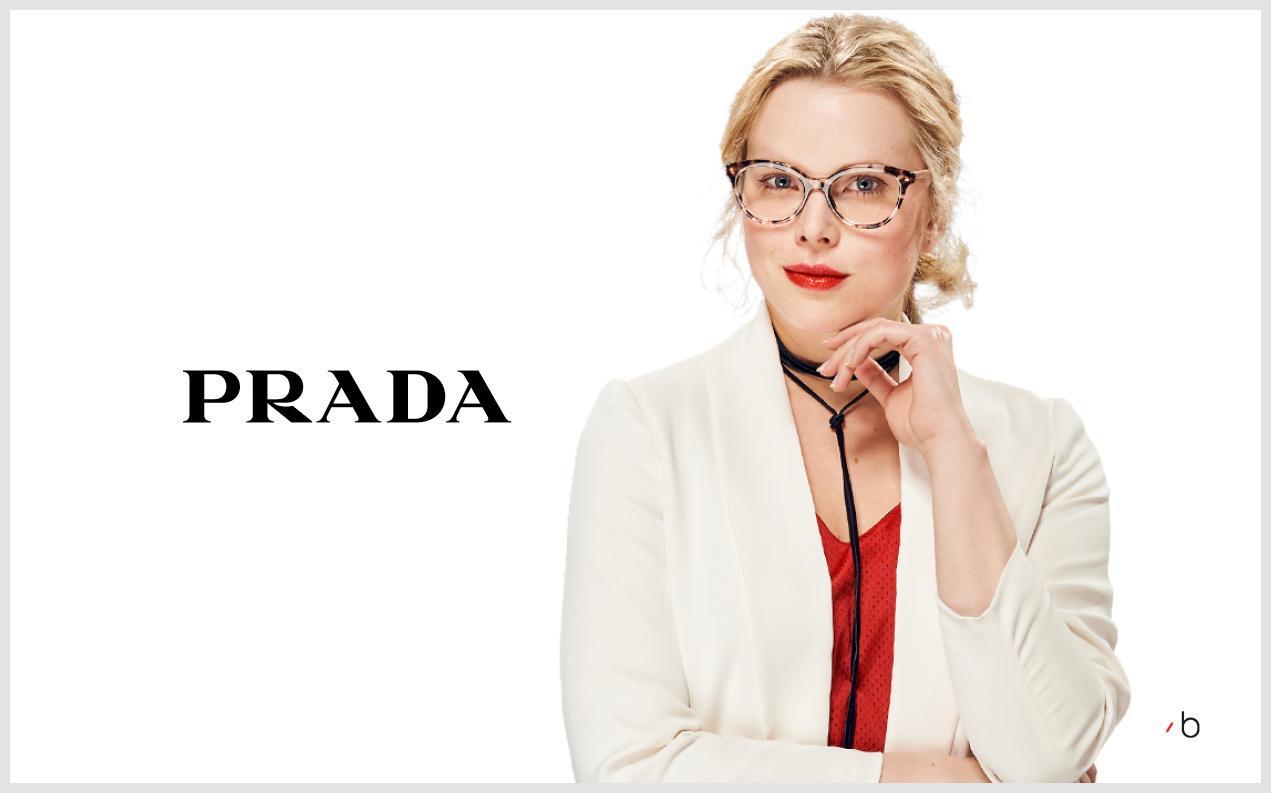 Female model wearing women's Prada prescription glasses