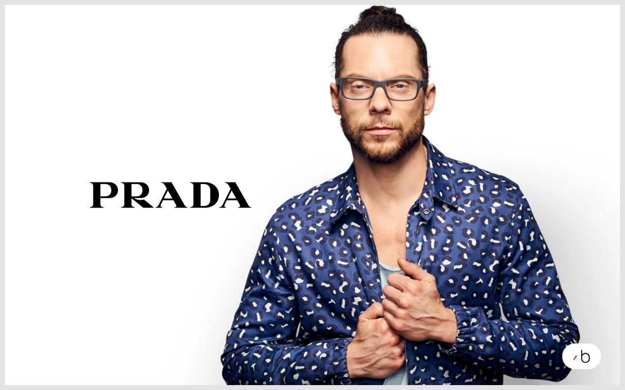 Male model wearing Men's prescription glasses by Prada