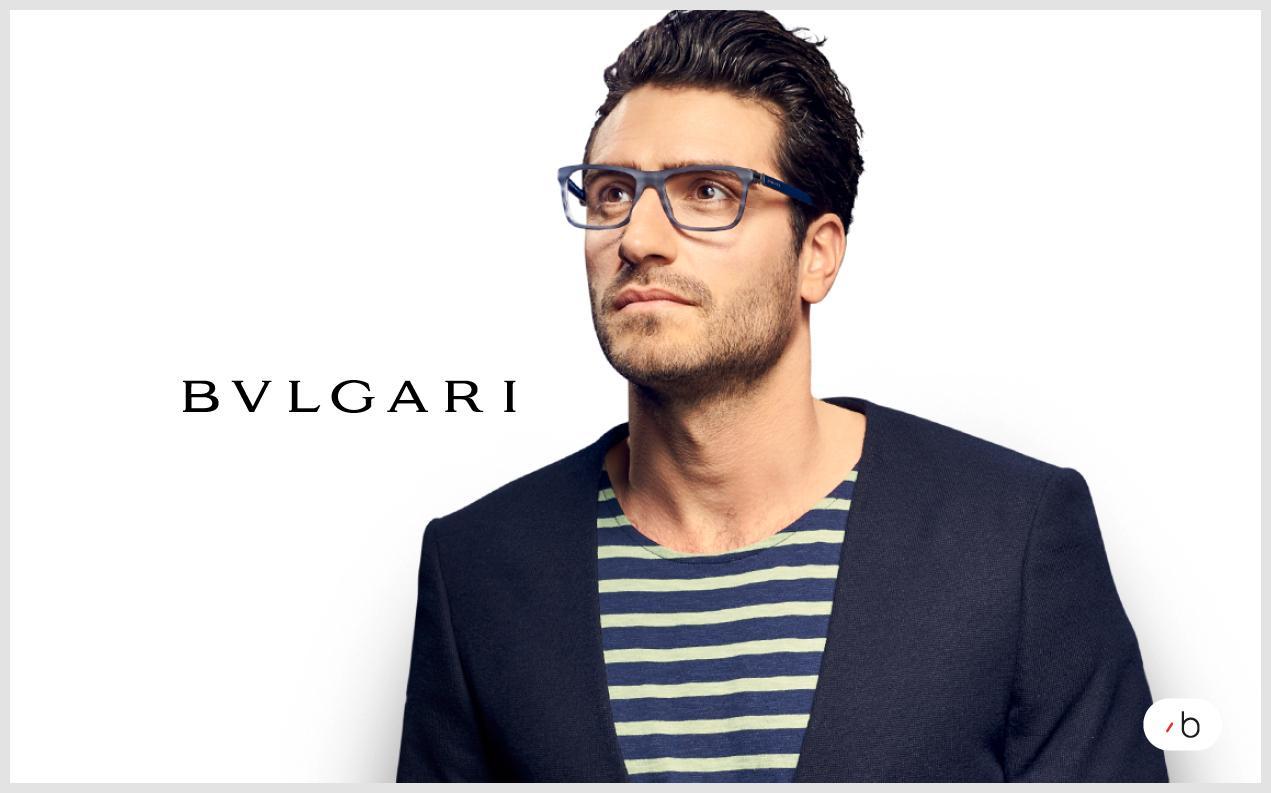 male model wearing men's Bvlgari glasses