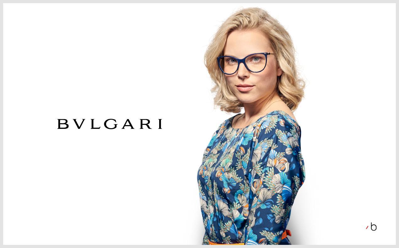 Female model wearing womens Bvlgari glasses