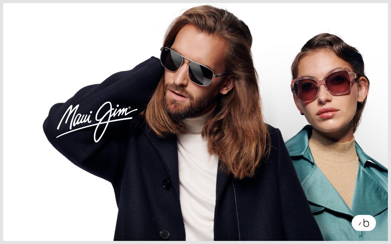 Model wearing Maui Jim sunglasses