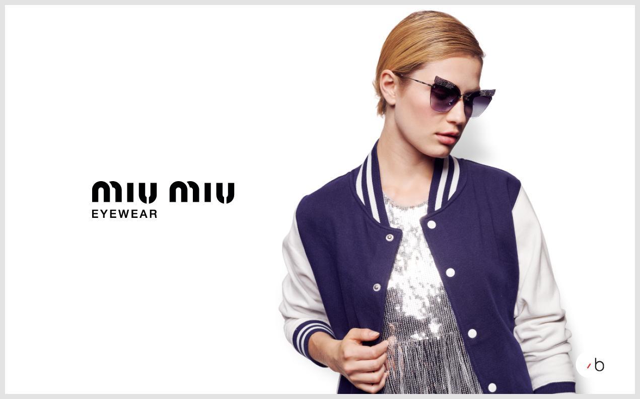 Female model wearing Miu miu sunglasses for women