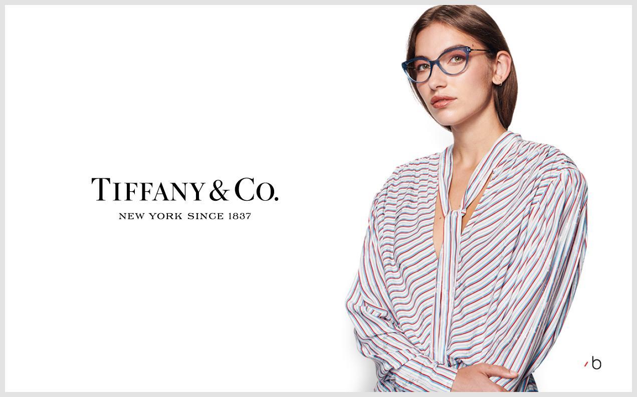 Female model wearing womens Tiffany glasses