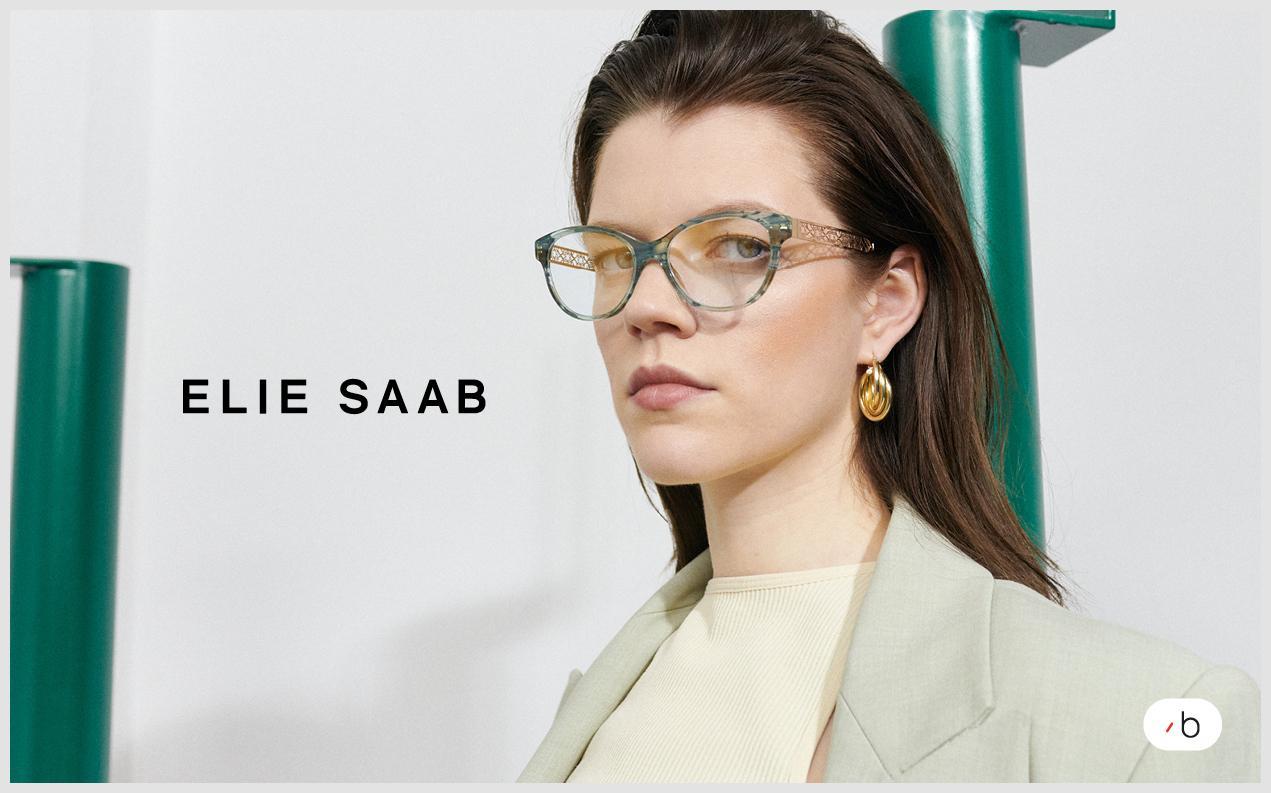 Female model wearing Elile Saab prescription glasses for women