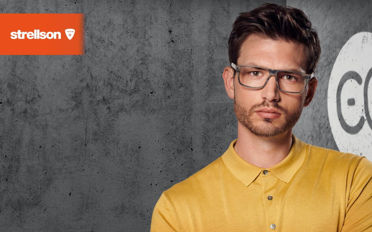 Male model wearing Strellson men's prescription glasses