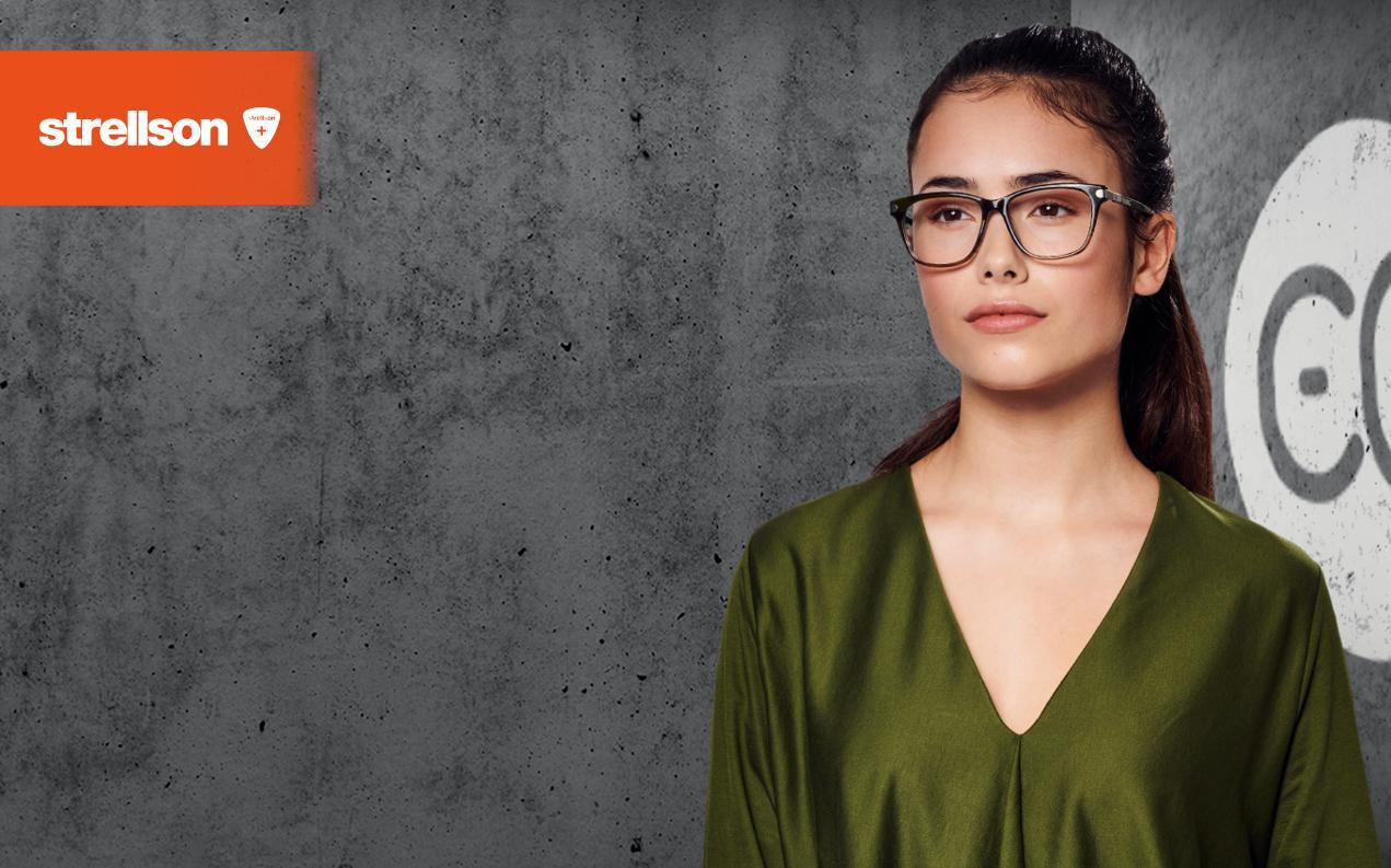 Female model wearing Strellson glasses with prescription for women